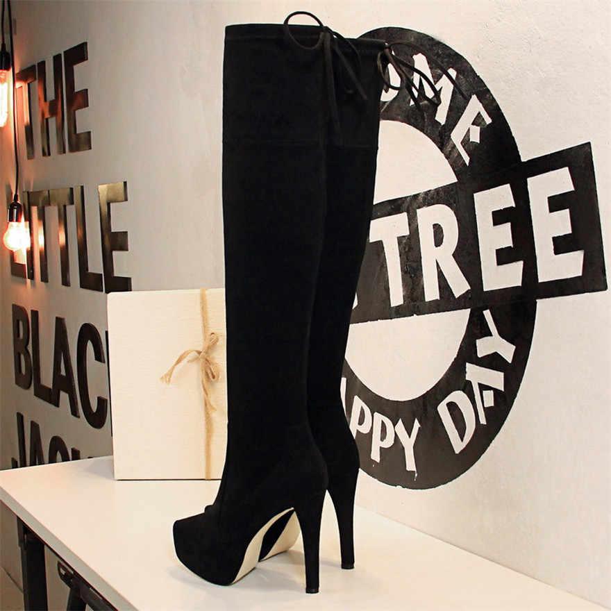 BIGTREE สไตล์กระชับ Lace - Up สีดำผู้หญิงกว่าเข่าบู๊ทส์แฟชั่น 3 เซนติเมตรแพลตฟอร์มรองเท้าส้นสูงยาวผู้หญิงฤดูหนาว