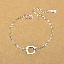 Серебряный цвет ювелирные изделия квадратный ножной браслет