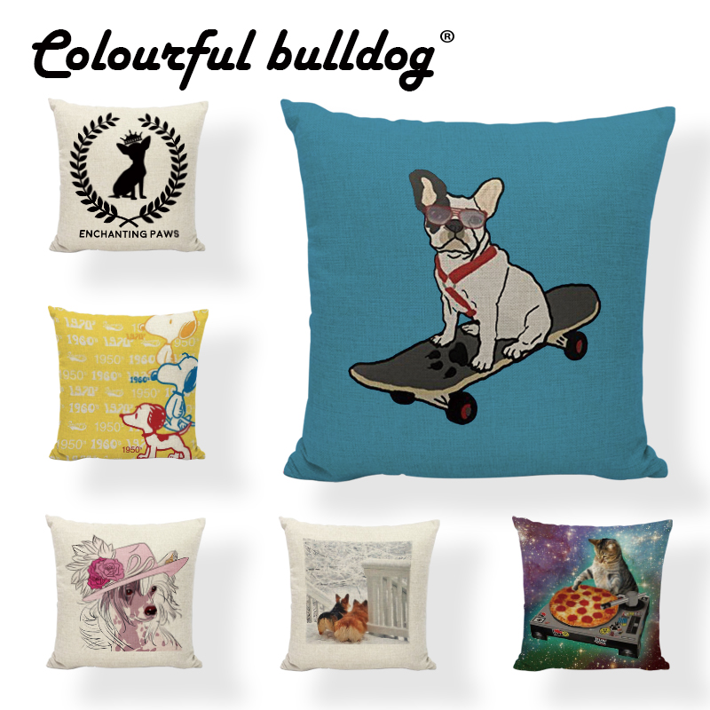 Cushion Cover 43*43cm Hipster Playful Cartoon Pet Dog And Cat Pattern Design Birthday Gift For Children Room Decor Pillowcase
