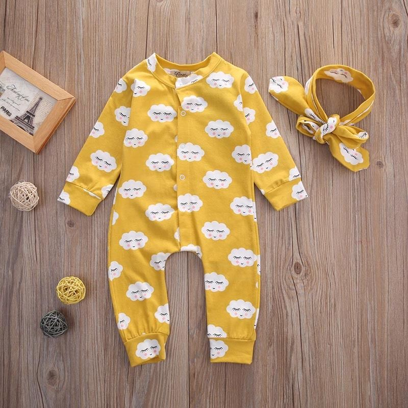 Newborn Baby Kids Girls Clothes Jumpsuit Rompers Long Sleeve Cotton Outfits Headband Baby Girl 0-18M infant newborn baby kids girls rompers jumpsuit headband 2pcs girls sets outfits cute printed baby girls clothes 0 18 months
