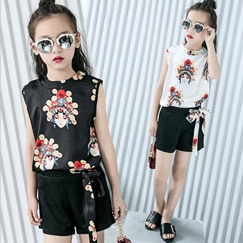2018 Fashion Summer Toddler Teen Girls Clothing Sets Print Tank Blouse + Bow Shorts 2 Pcs Suit Children Kids Clothes Set JW3216A
