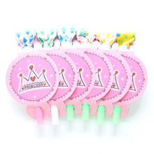 6Pcs/lot Noise Maker Princess Cartoon Theme Blowout Plastic Whistle Kid's Birthday Party Fittings Party Supplies Decorative Toys(China)