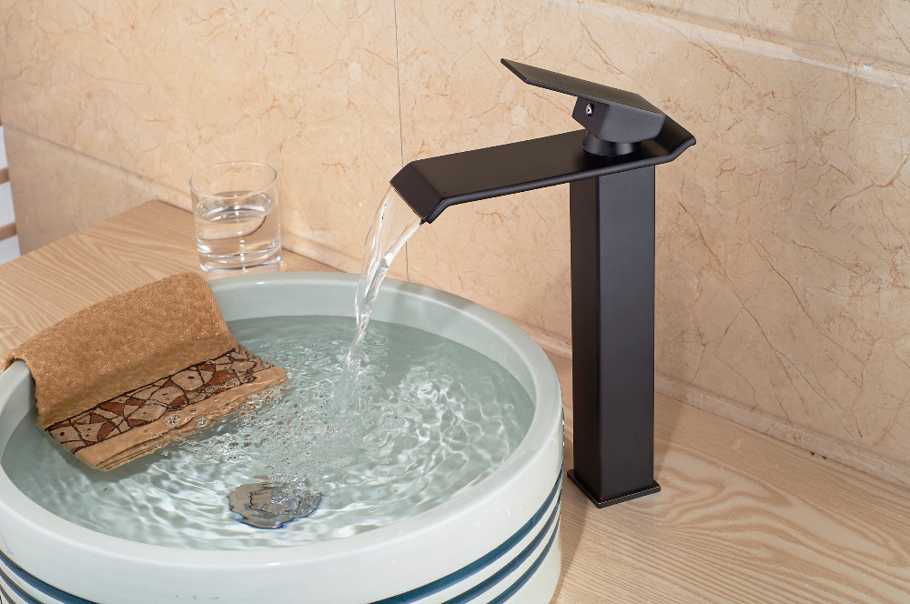 Modern Oil Rubbed Bronze Waterfall Bathroom Basin Faucet Sink Mixer Tap 1 Handle led oil rubbed faucet bronze waterfall modern bathroom sink faucet volvey led waterfall basin mixer black glass water sink tap