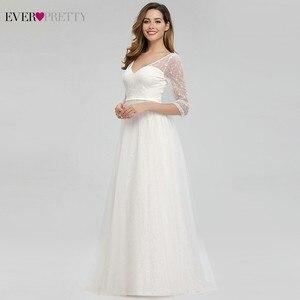 Image 4 - Hiç Pretty zarif dantel gelinlik v yaka A Line fermuar seksi beyaz resmi gelin elbiseler EP00806WH Vestidos De Novia 2020