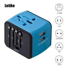 Letike универсальный адаптер путешествия все-в-одном Международная Адаптеры питания с 2.4a Dual USB WALL Зарядное устройство для Великобритании/ ЕС/AU/Азия телефон