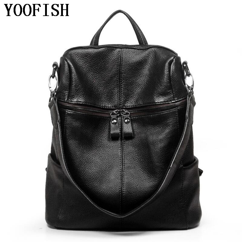 YOOFISH Genuine Leather Backpack For Man Real Cowhide Large Male Backpack Double Zipper Travel Rucksack Classic Unisex Bag male classic microfiber leather backpack