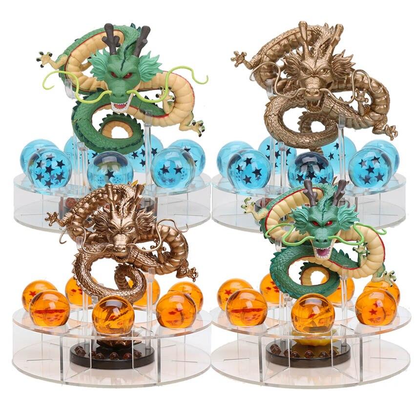 Dragon Ball Z 15cm Shenron + 7pcs 3.5cm Crystal Dragon Balls + Stand PVC Action Figures Collectible Model Toys Set