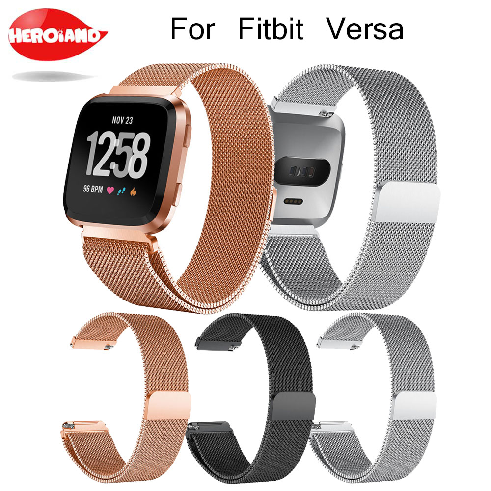 Milanese Magnetic Loop Stainless Steel Band For Fitbit Versa Gold Watch 5.5 6.7 inch Dropshipping Wristwatches Steel metal-in Smart Accessories from Consumer Electronics