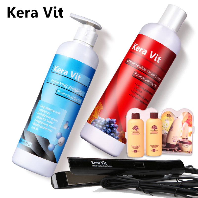 Hot Selling Brazilian 8% S Keratin Behandling + Rensende Sjampo + Gratis Flat Iron Straighting Hair og Små Gaver Gratis Levering