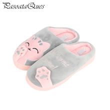 Big Size Winter Autumn Cartoon Kitty Pattern Women Shoes Comfortable Non-slip Mute Indoor couples Home Slippers Pasoataques 1881