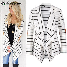 Hodisytian Autumn Fashion Women Shirts Casual Loose Stripe Cardigan Ladies Zip-up Blouse Patchwork Sleeve Blusa Femme Outerwear