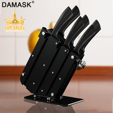 Damask Kitchen Knife Set Stainless Steel Knives 6PCS & Stand Holder Block Multi-functional Cooking Accessories