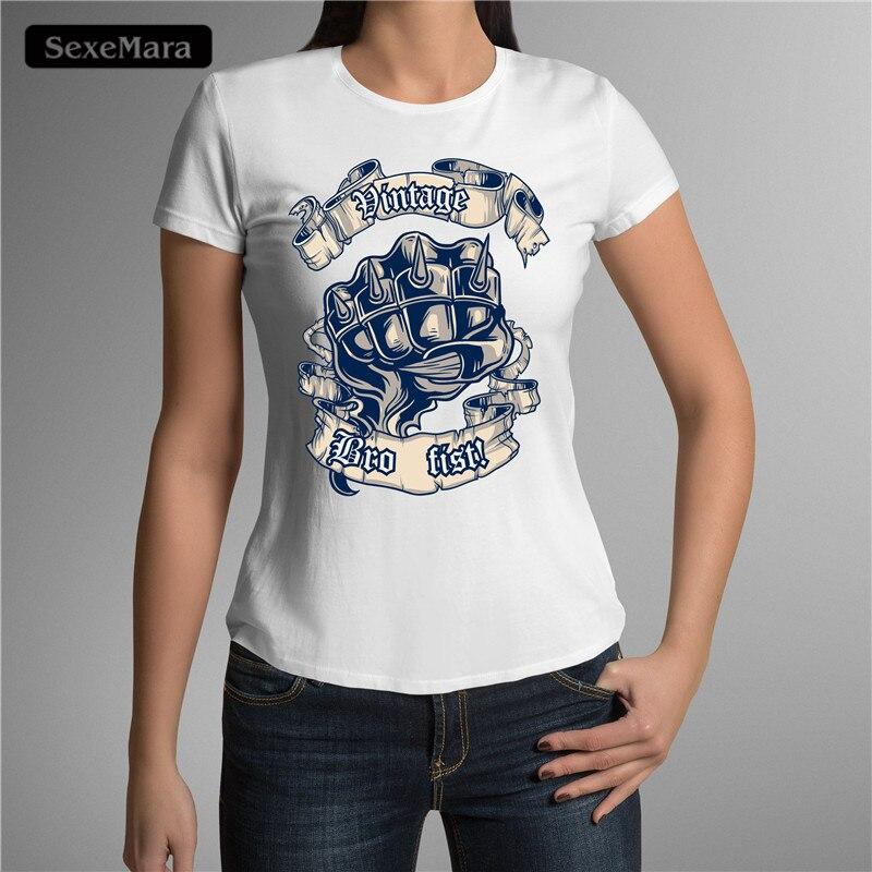 Sexemara high quality 3d fist printed t shirt women short for High quality printed t shirts