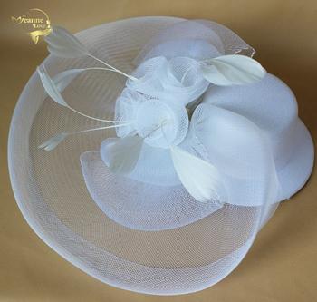 Kapelusze ślubne dla kobiet Vintage netto kapelusze ślubne czarne białe akcesoria ślubne Brides Fascinator Sinamay ślubne woalka tanie i dobre opinie Bridal kapelusze Adult Jeanne Love BH001 POLIESTER