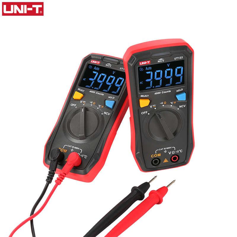 UNI-T 자동 범위 미니 디지털 멀티 미터 온도 테스터 UT123 데이터 보류 AC DC 전압계 포켓 전압 암페어 옴 미터