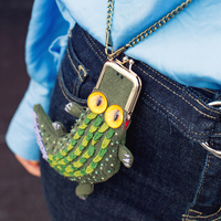 Self DIY crocodile embroidery metal frame coin phone bag material