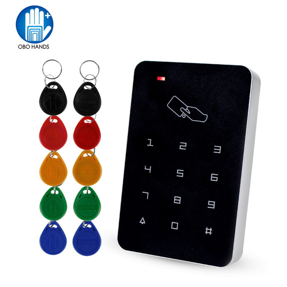 Standalone Access Controller with 10pcs EM keychains RFID Access Control Keypad digital panel Card Reader For Door Lock System rfid standalone access control card reader with digital keypad for home apartment factory door security system