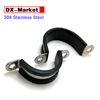 6mm 100mm Saddle Clamp cable fixing clip ,304 stainless steel C type rubber clamps , 20mm Steel width