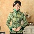 Топ стильный зеленый нью-китайских женщин шелковый верхней одежды среднего возраста матери тонкий слой печатных куртка бесплатная доставка размер S , чтобы XXXL T042