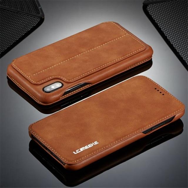 حافظة محفظة فاخرة من LC. IMEEKE لهواتف iphone 6 6s 7 8 Plus مزودة بمغناطيس من الجلد لهاتف iphone Xs Max XR X iphone 8 7 Plus بفتحة لبطاقة