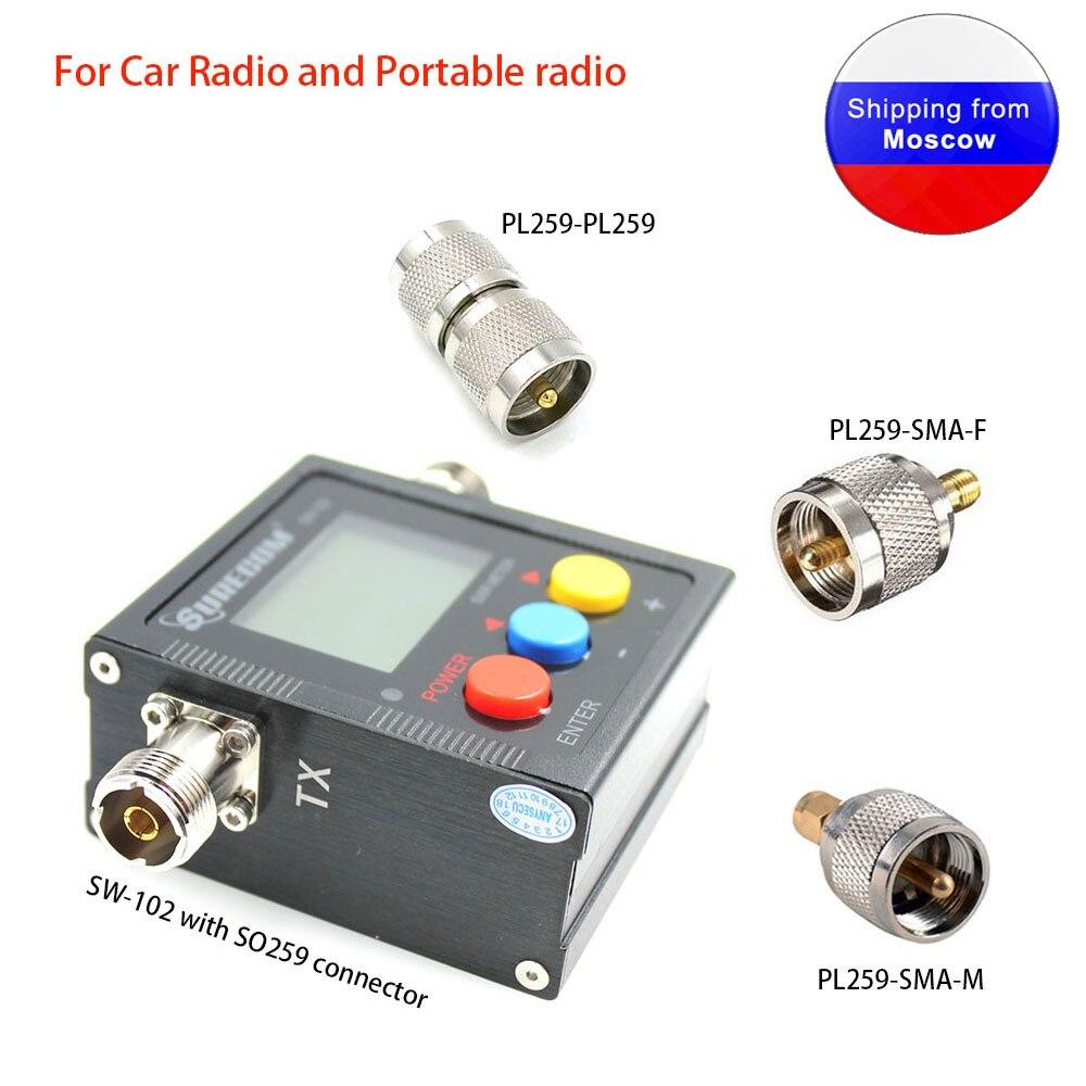 SURECOM SW 102 With Three Adaptor 125 520Mhz Digital UV Power SWR Meter For Car Radio