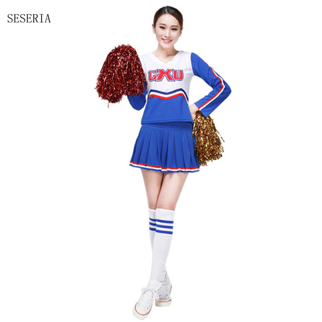 SESERIA High School Girls Cheerleading Costume Blue Red Cheerleader Uniform Halloween Costume  sc 1 st  AliExpress.com & SESERIA High School Girls Cheerleading Costume Blue Red Cheerleader ...