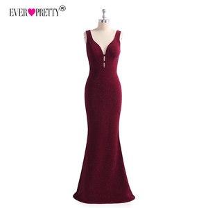 Image 5 - Ever Pretty с высоким разрезом, вечернее платье Формальное вечернее платье с блестками Элегантные Русалка V образным вырезом платья для вечеринки с открытой спиной халат De Soiree EP07417BD