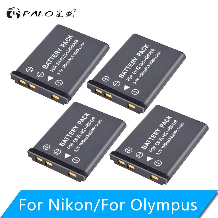PALO 4 pièces 1800 mAh EN-EL10 EN EL10 LI-42B Li-40B LI42B 40B batterie pour appareil photo nikon OLYMPUS U700 U710 FE230 FE340 FE290 FE3