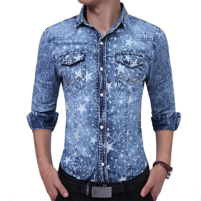 Men's Denim Shirts 2018 Fashion Brand Long Sleeve Shirts Geometric Slim Fit Men Casual Shirt Korean Wild Blue