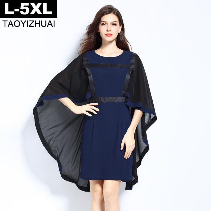 Top Design Cape Cloak Sleeve Chiffon Dress 2018 Summer Dress Women 3/4 Sleeve Empire Slim Hips Dress 5XL Plus Size Vestidos Blue plus size novelty cape sleeve black dress