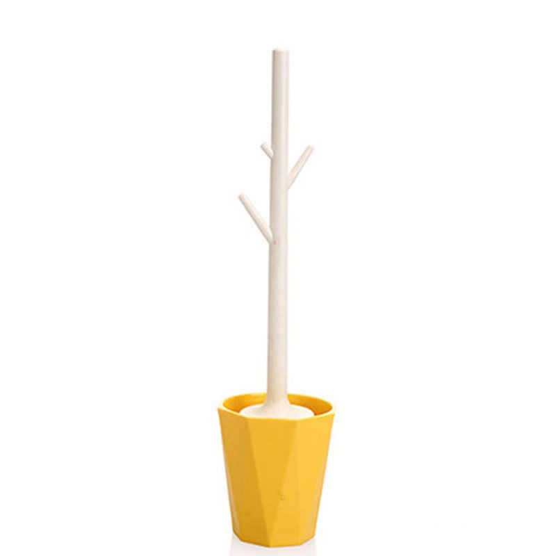Creative Tree-shaped Toilet Brush Set Detachable Bathroom Toilet Brush Toilet Brush Cleaner (yellow)