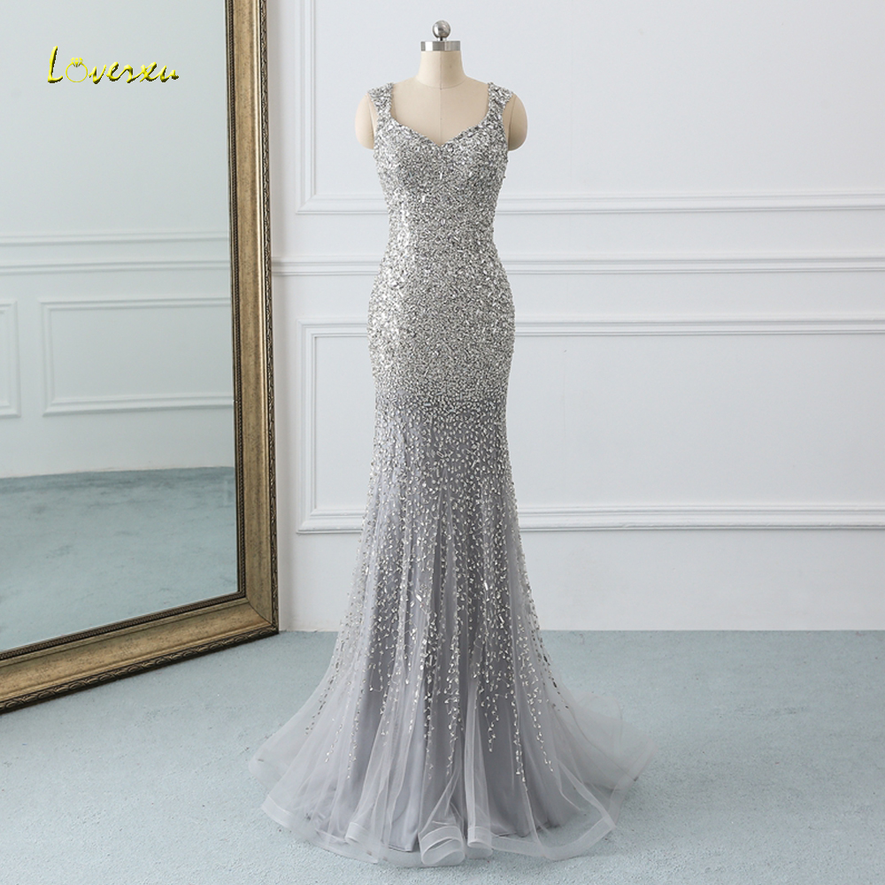 Loverxu Sexy Beading Crystal Long Mermaid Prom Dresses 2019 Sweep Train Illusion Gray Trumpet Dress for Party Vestido De Festa