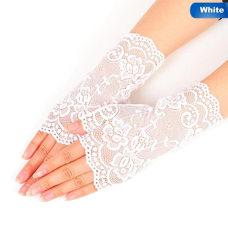 Long Fingerless Womens Sexy Lace Gloves 2018 Winter White Black Ladies Half Finger Fishnet Gloves Heated Mesh Mitten Gants Femme