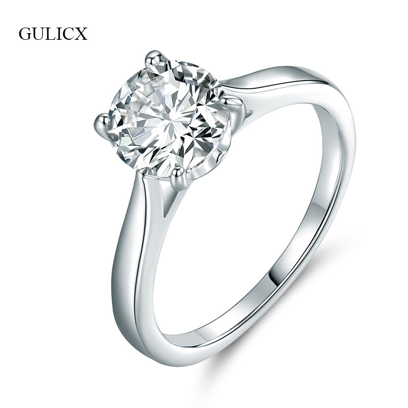 GULICX Classic Big Crystal Wedding Rings For Women Silver-color Large Round Stone CZ Zirconia Engagment Band Rings Jewelry R036