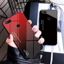 Tempered Glass Case for Xiaomi Mi 8 Lite Gradient Color Hard Back Cover Mi8 Lite Soft Silicone Bumper For Xiaomi Mi 8 Lite Case все цены