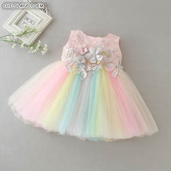 Платье для маленьких девочек, платье для новорожденных, платье для первого дня рождения, бальное платье для крещения, платье принцессы для