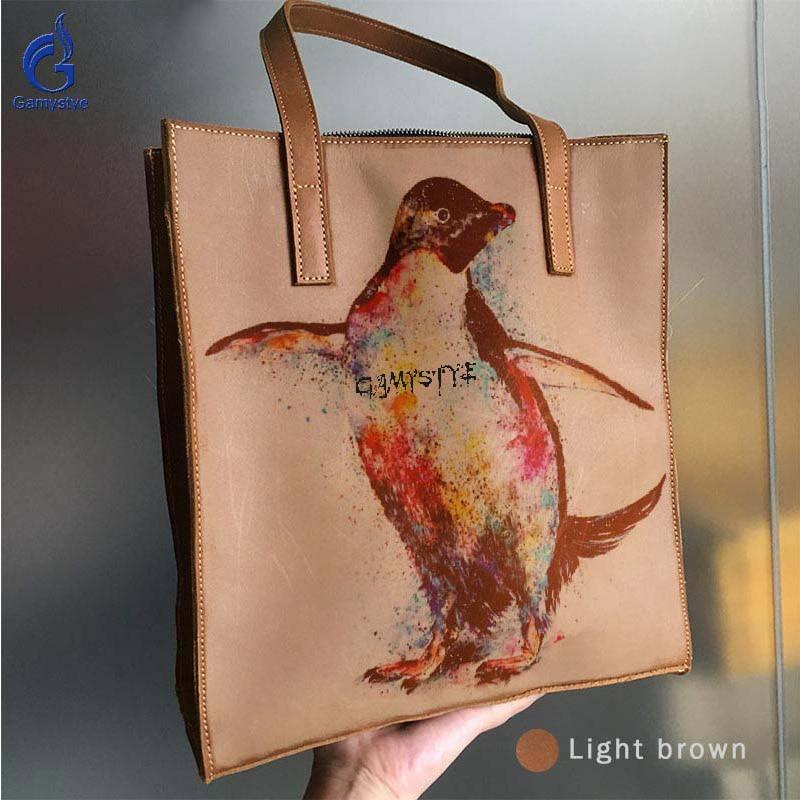 GAMYSTYE Genuine Leather Bags For Women Handbags Female Bag Women Shoulder Bag Custom Gift Print Art Animal Colorful Penguin animal print off the shoulder sweatshirt