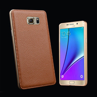 High Quality Genuine Leather Phone Skin For Samsung Galaxy Note 5 Case Screen Protector Metal Edge
