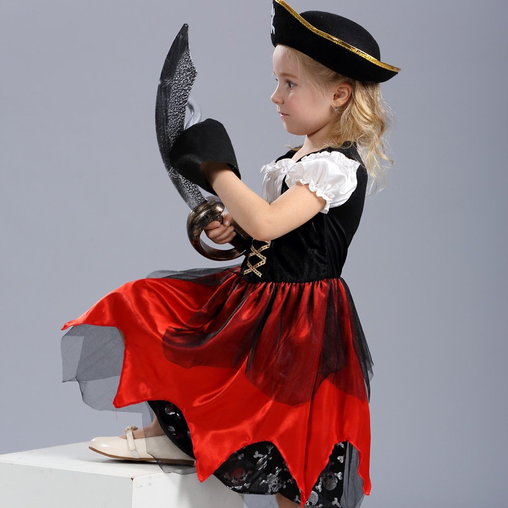 2017 Childrens Pirate Cosplay Costumes Caribbean Pirates Kids Carnival Fancy Party Dress for Halloween (just dress, no hat)