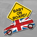 ETIE Car-styling Car Wrap Adhesive Funny Car Sticker MINI Coopers Baby On Board Warning Mark Vinyl Decal Automobiles Accessories