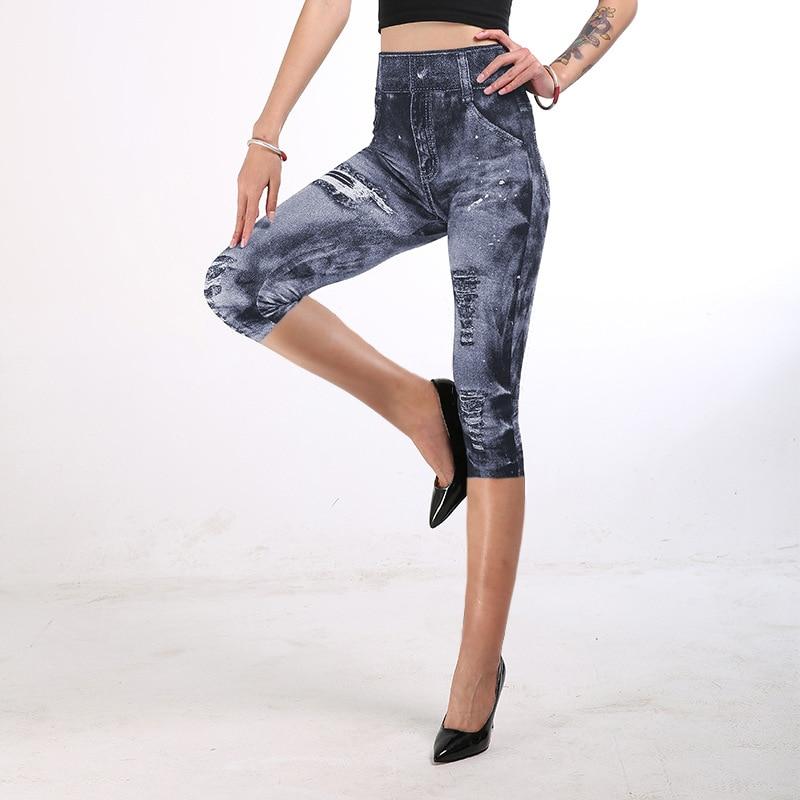 INITIALDREAM New Imitation Cowboy Print Women Leggings High Waist Slim Elastic Capri Pants Mid-Calf Fitness Legging Calzas Mujer