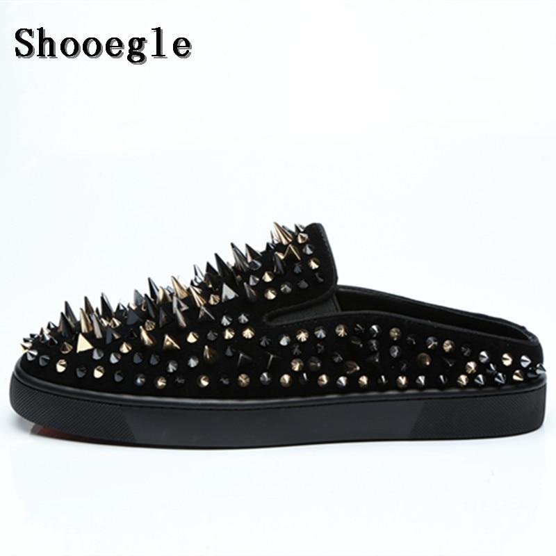 SHOOEGLE Handmade Luxury Spikes Mens Mules Shoes Suede Black Rivets Casual Slippers Men Slides Summer Shoes Size EU38 EU47