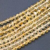 Nuovo Modo Liscio Rotondo 6mm 8mm 10mm Naturale Pietra di Cristallo perline Giallo Diy Branelli Allentati Per Monili Che Fanno Trovare 15 pollici B3293