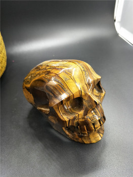 Amazing  Natural Tiger's eye Crystal carves skull HEALING for Halloween Gift Home Decoration