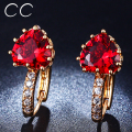Women earrings rose gold plated red crystal heart stud earring CZ pendientes oorbellen boucles d'oreilles brincos jewelry E014