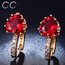 Boucles oorbellen pendientes brincos cz earring stud heart rose plated red