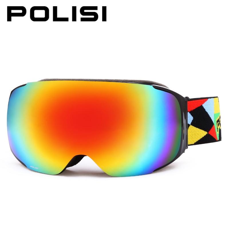 POLISI Unisex Professional Skiing Goggles Ski Snowboard Glasses Anti Fog Skate Snowmobile Glasses Gafas Motocross Goggles