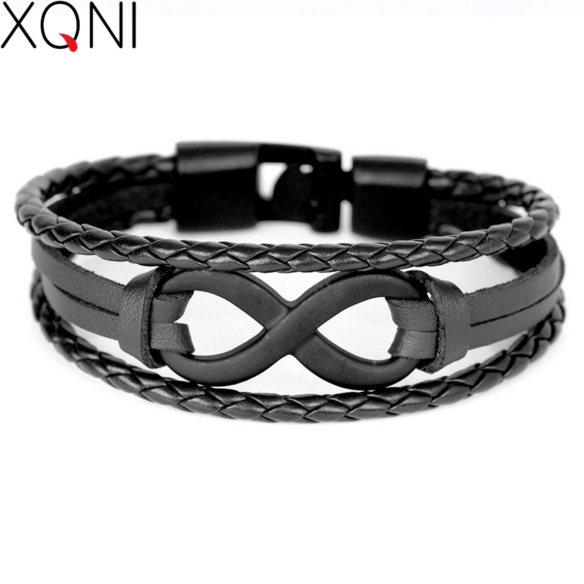 2017 New Fashion Novelty Digital 8 Læder Armbånd Famous DIY Multilayer Bandage Brand Friendship Charm Armbånd For Mænd.