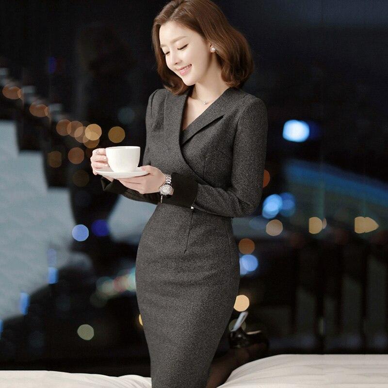 Automne hiver femmes robe couleur gris foncé sexy plus la taille bandage robe de festa bureau OL mince sexy robe moulante vêtements