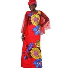 MD الأفريقي فساتين للنساء زائد حجم أفريقيا الملابس الشمع طباعة الزهور الديكور بازان الثراء الأفريقي الملابس طويلة شبكة رداء فام